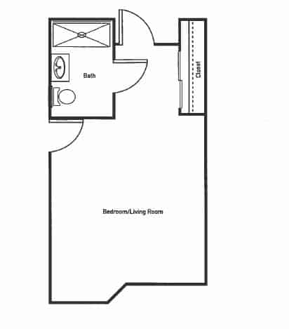 The Magnolia Studio Apartment Floor Plan