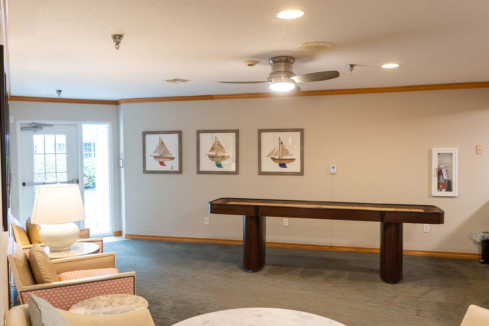 Game room at Heron House assisted living and memory care community in Sarasota, FL
