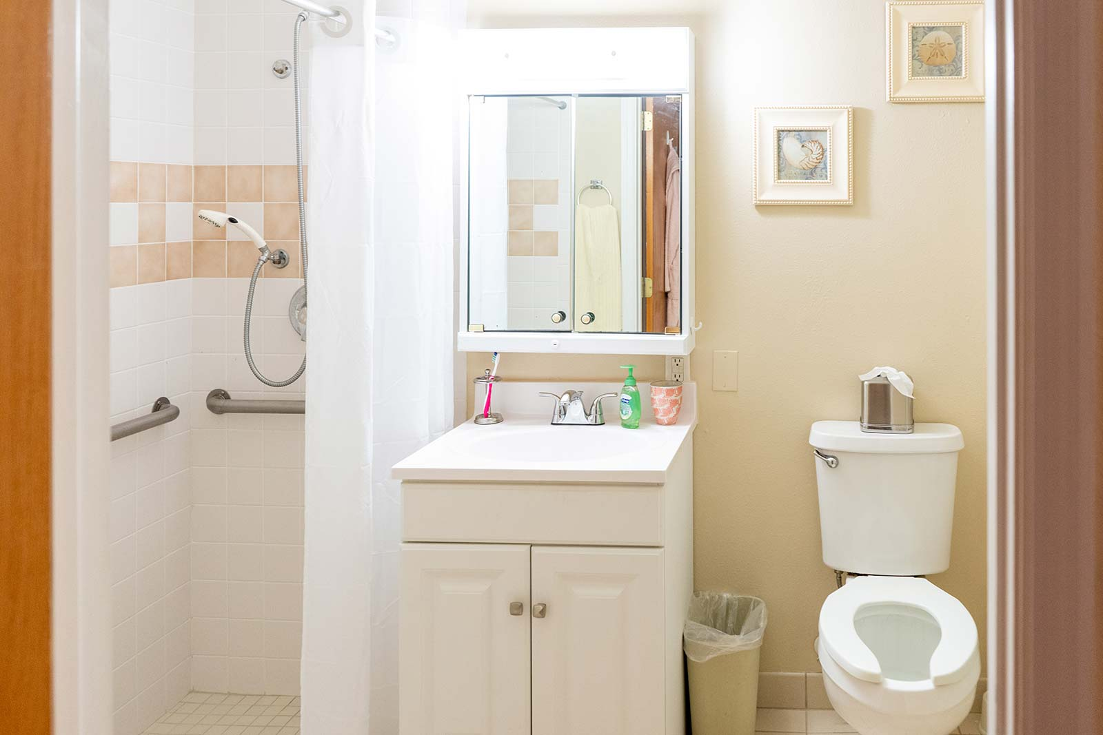 Model apartment bathroom at Heron House assisted living and memory care community in Sarasota, FL