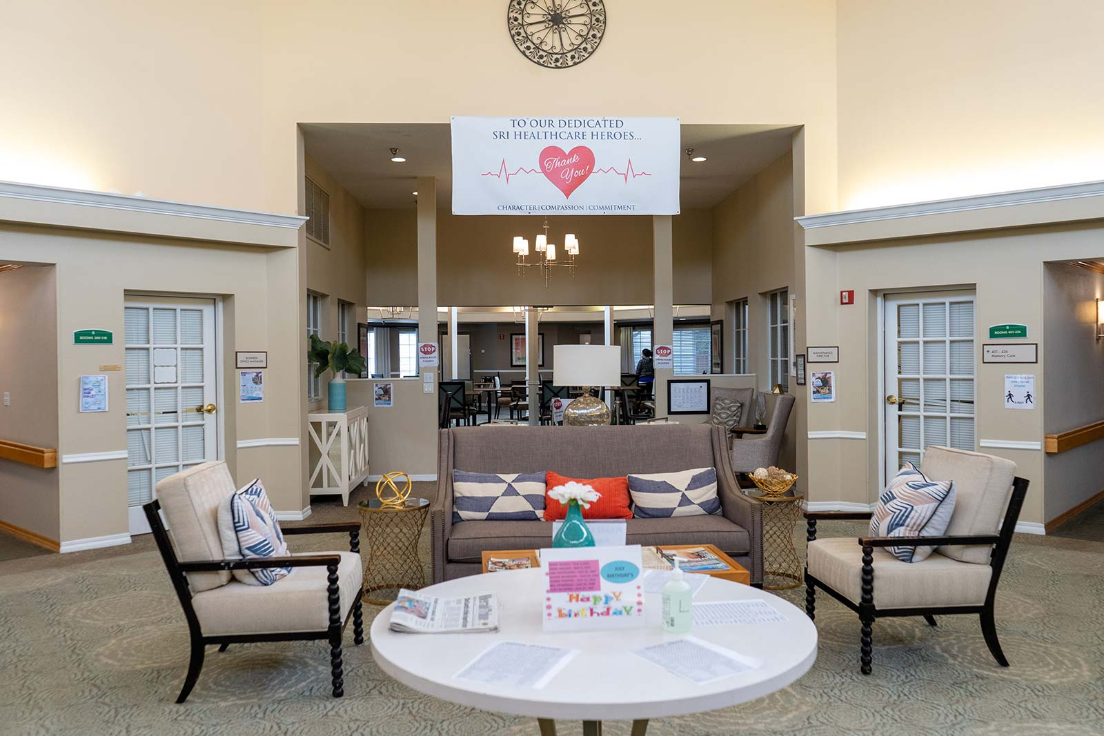 Front lobby and atrium at Heron House assisted living and memory care community in Sarasota, FL